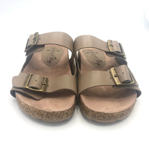 Leather Double Strap Sandal in dark Tan -1013