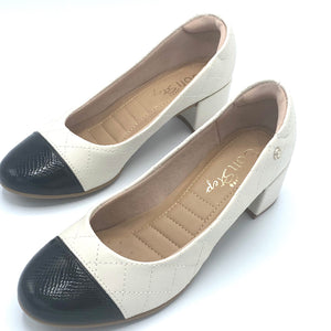 Low block Heels in Black&white - 1274-002