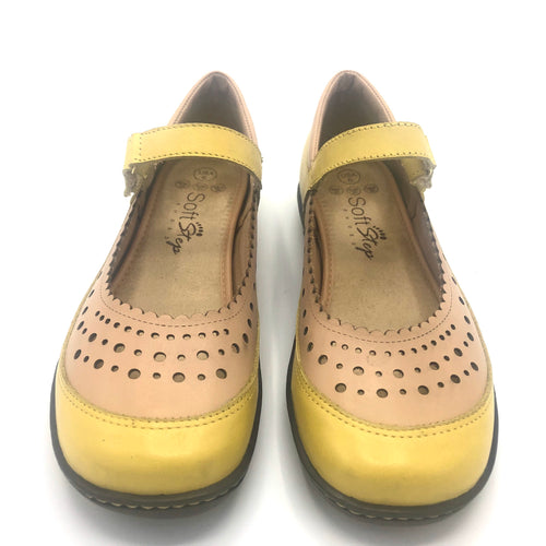 Comfy Flat  in Yellow and Nude Leather-12042