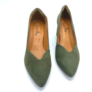 Nubuck Leather block Hells in Olive - 300216