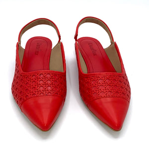 Leather Comfy Sole Slingback Red - AC2807