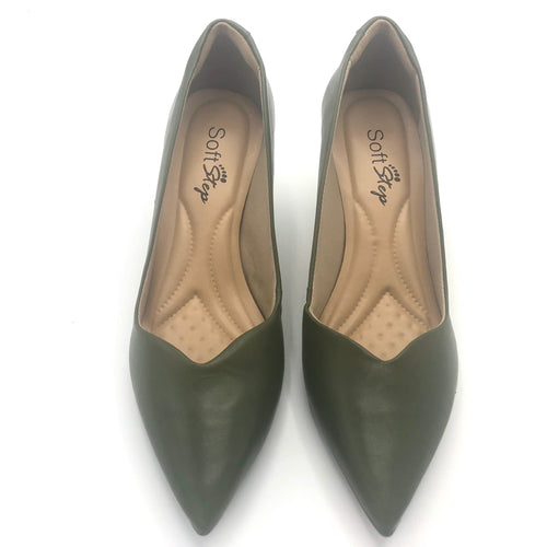 Leather Mid Heel Pumps in Olive - 70608