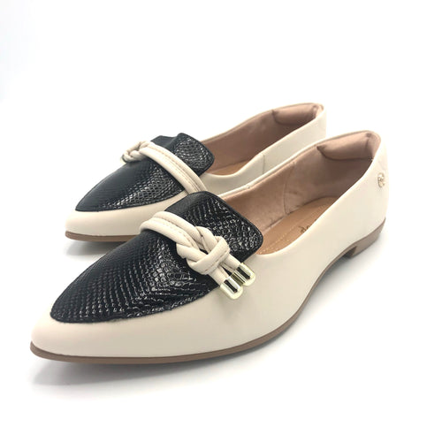 Comfy Flat  in OFF White and Black-1266-079