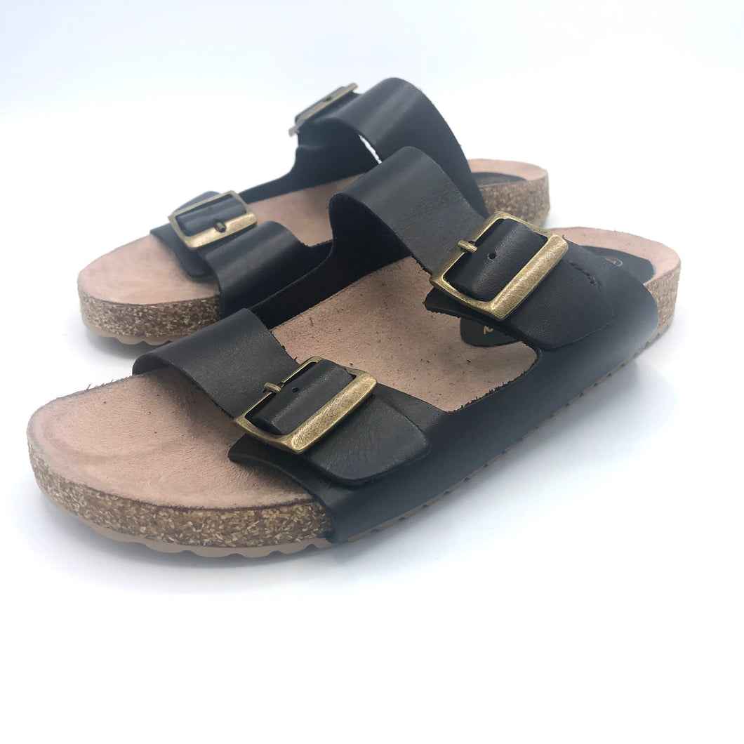 Leather Double Strap Sandal in Black -1013