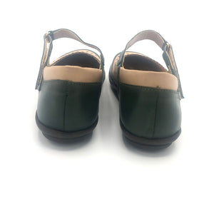 Comfy Flat  in Olive and Nude Leather-12042
