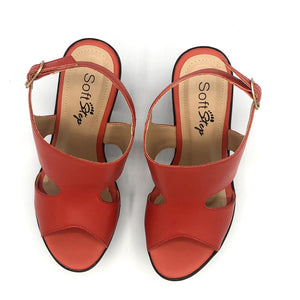 Leather Clog in Tangerine - 400901
