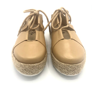 Espadrille leather Tennis Shoes in Camel  - 4702T