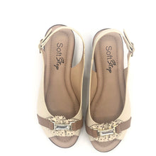 Load image into Gallery viewer, Low Wedge Sandal in Beige and Brown - 41507