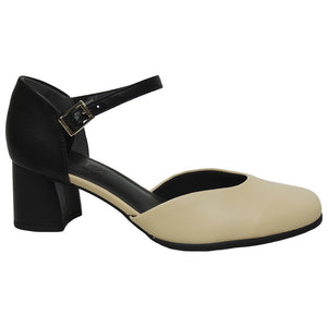Low Heel Pump Comfy in beige and  black leather - AC3602