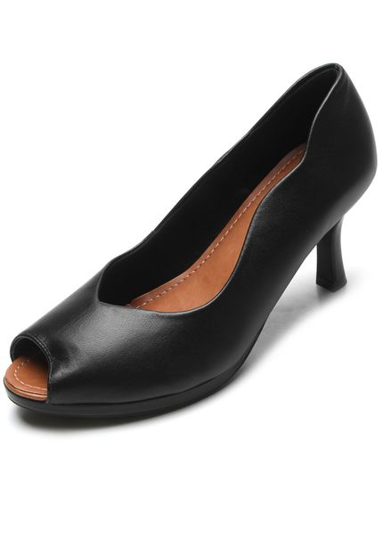 Leather Casual Peep Toe low heels in Black - AC3708