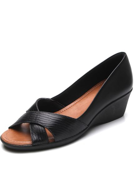 Leather Casual Peep Toe in Black - AC2605
