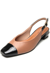 Leather Comfy Sole Slingback black and Camel - AC3507