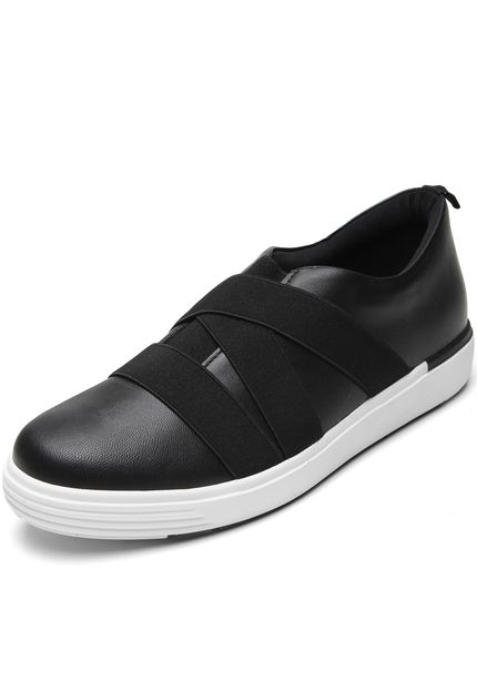 Leather Tennis Shoes in Black  - AC5109
