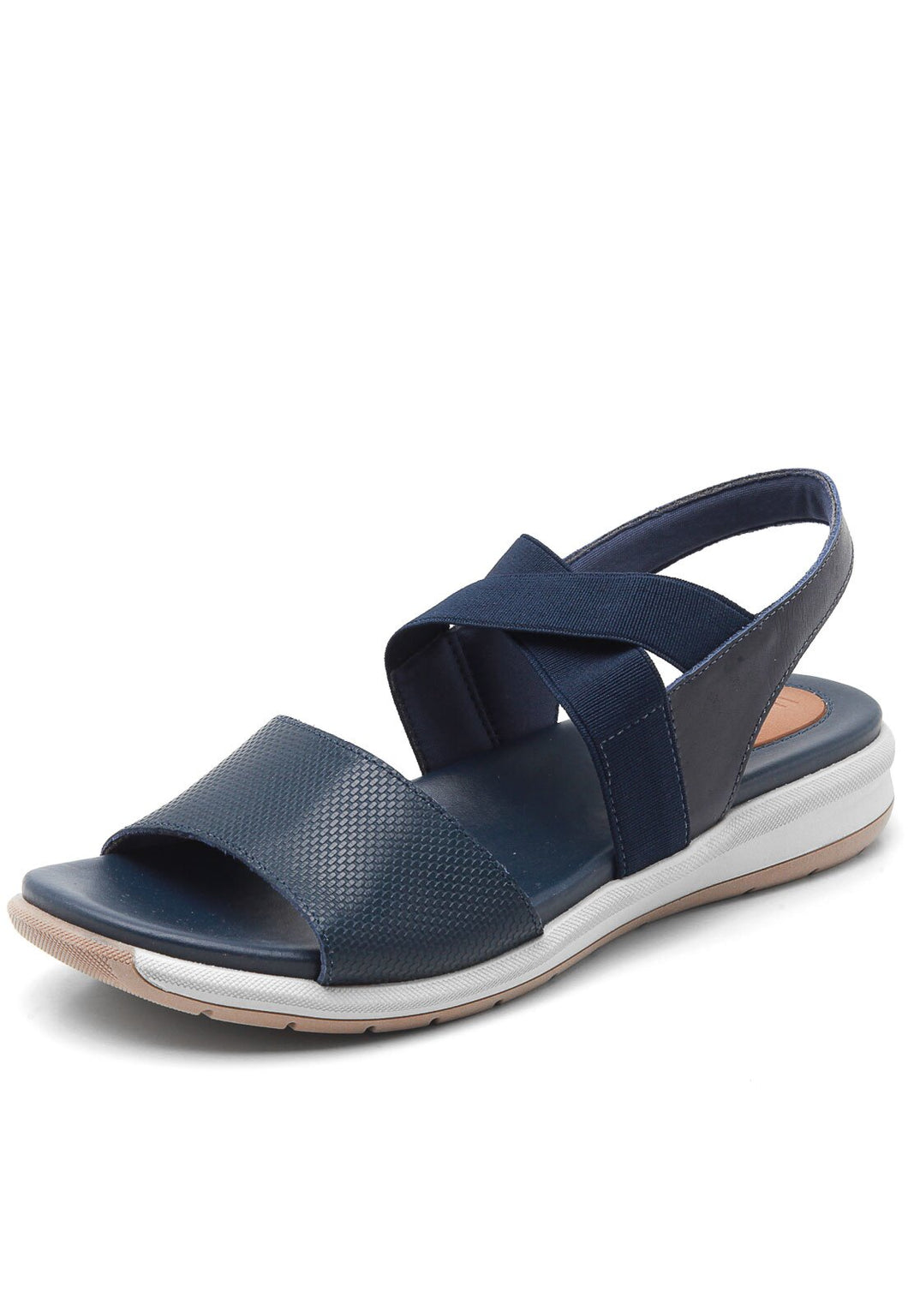 Leather and Cross Strap Sandal in Navy Blue - AB8905