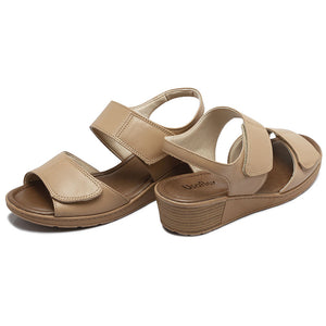 Leather Sandal in Camel w/Velcro-Z8315