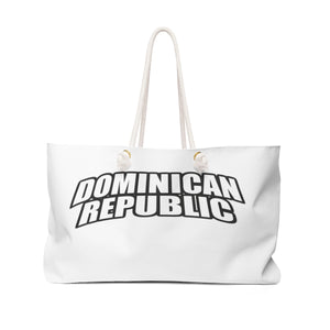 "Dominican Republic Weekender Bag ""Dominican"" in big letters"