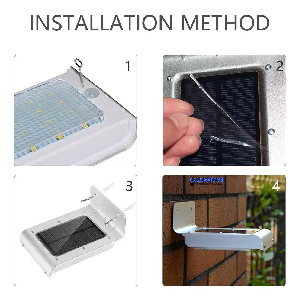 Solar Powered Wireless Waterproof Outdoor 120-Degree Motion Sensor LED Light, AMAZING PRODUCTS ESTORE V2 Cool White Security Wall Lamp Light