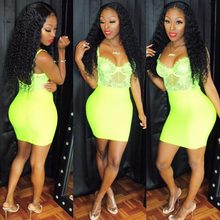 Load image into Gallery viewer, Neon yellow bandage skirt set