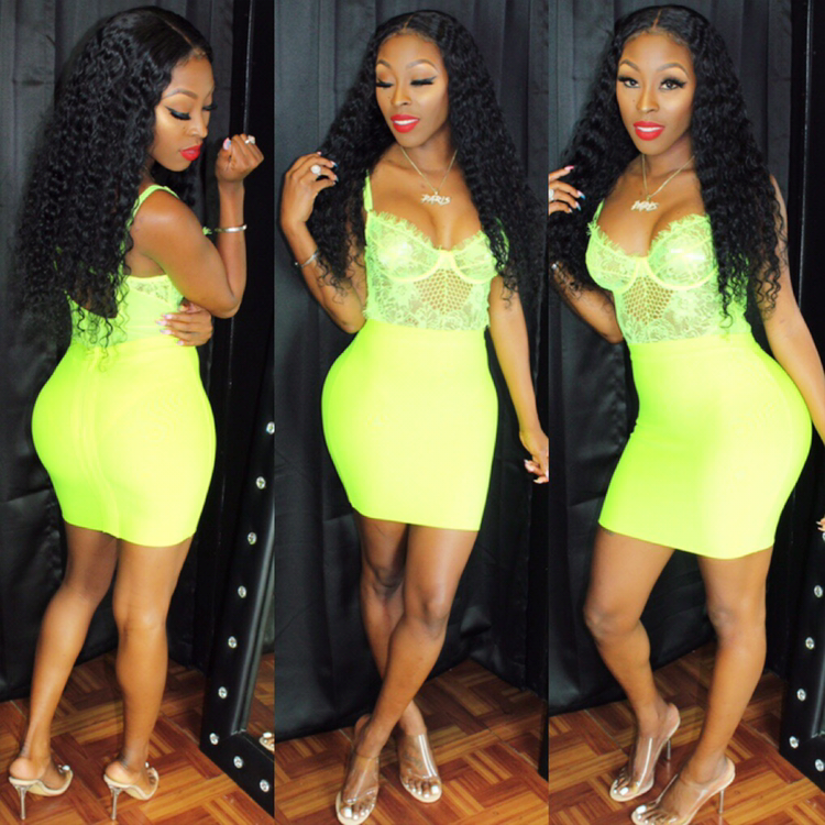 Neon yellow bandage skirt set