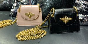 Mini Bees bag with gold chain