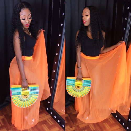 Neon orange sheer skirt