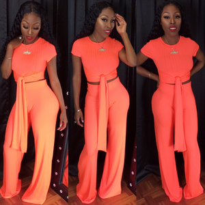 Neon coral Lucky girl set
