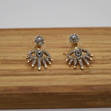 Load image into Gallery viewer, Swarovski Gold Mini Eyelash Front & Back Earrings