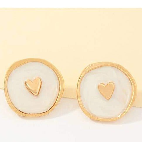 White Enamel Love Heart Earrings