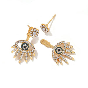 Swarovski Gold Mini Eyelash Front & Back Earrings