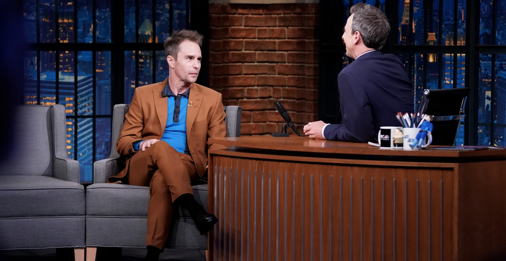 Sam Rockwell in Tiger of Sweden - GQ on Seth Meyers