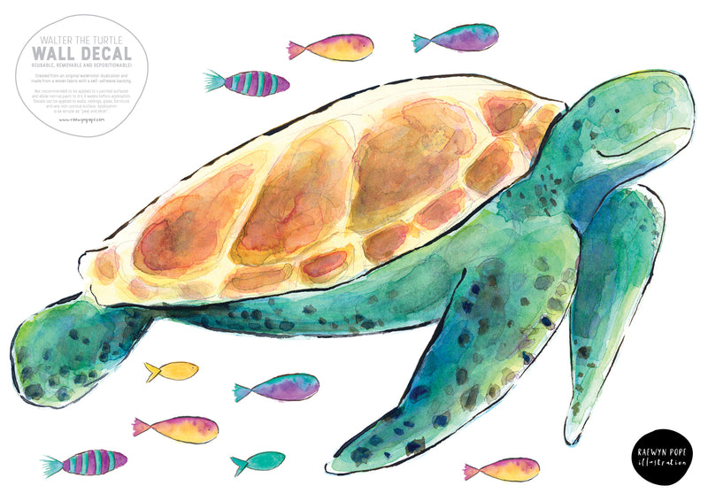 Sea Turtle Fabric Wall Decal - Raewyn Pope Illustration