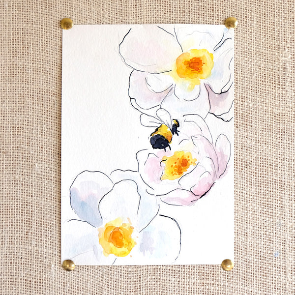 Bumble Bee Original Painting - Raewyn Pope Illustration