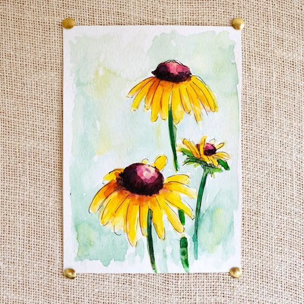 Flower Study #4 Original Painting - Raewyn Pope Illustration