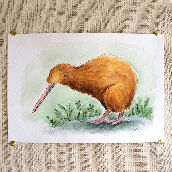 Kiwi Original Painting - Raewyn Pope Illustration