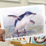 Little Blue Penguin (Kororā) - postcard - Raewyn Pope Illustration