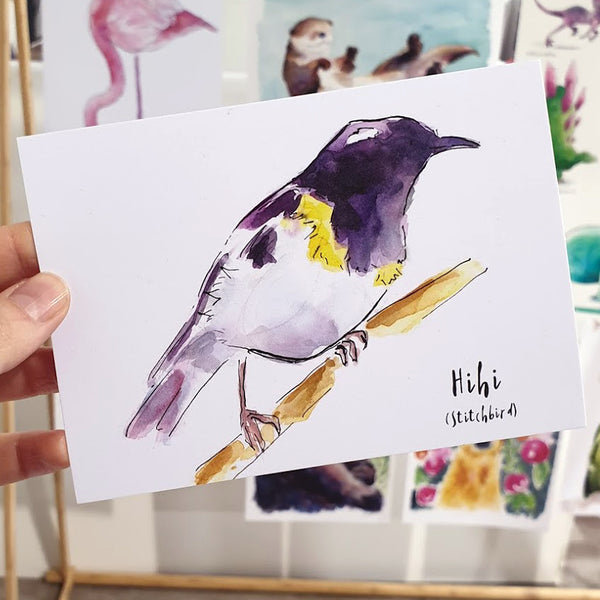 Hihi (Stitchbird) - postcard - Raewyn Pope Illustration