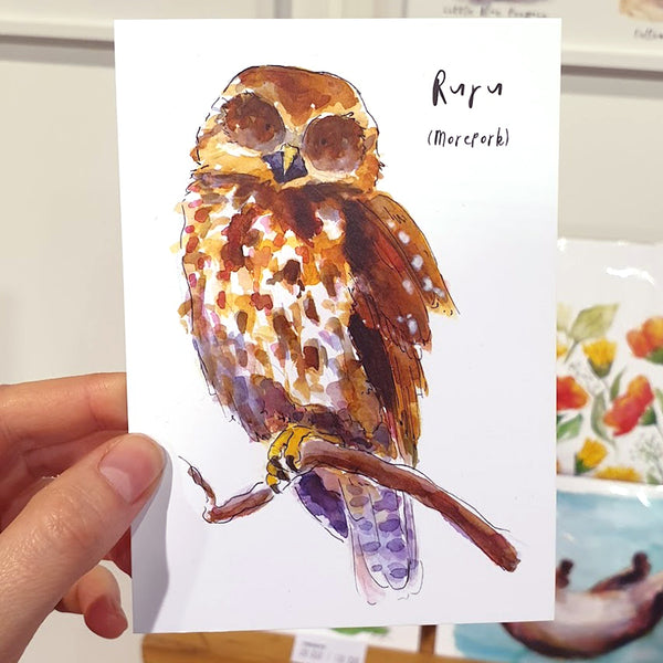 Ruru (Morepork) - postcard - Raewyn Pope Illustration