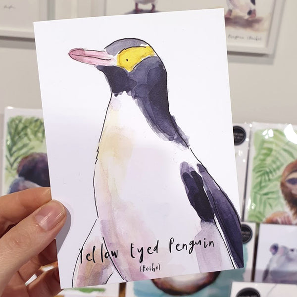 Yellow Eyed Penguin (Hoiho) - postcard - Raewyn Pope Illustration