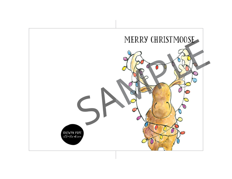 Merry Christmoose Card - Printable - Raewyn Pope Illustration