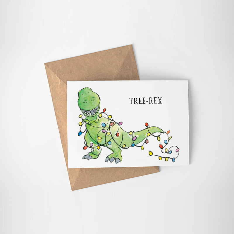 Tree-Rex Christmas Card - Printable - Raewyn Pope Illustration