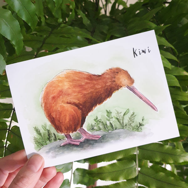 Kiwi - postcard - Raewyn Pope Illustration