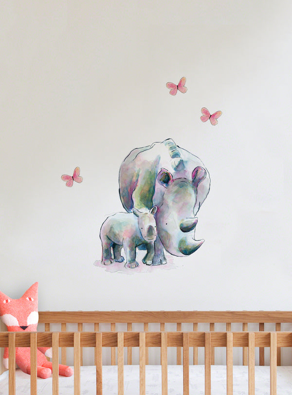 Rhinos Fabric Wall Decal