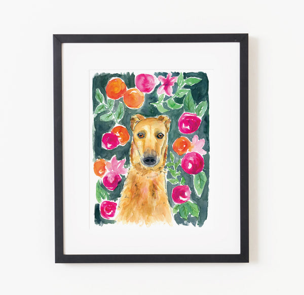 Whippet in the flowers - Raewyn Pope Illustration