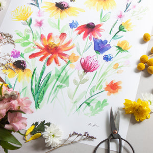 Summer wildflowers in bloom - Raewyn Pope Illustration
