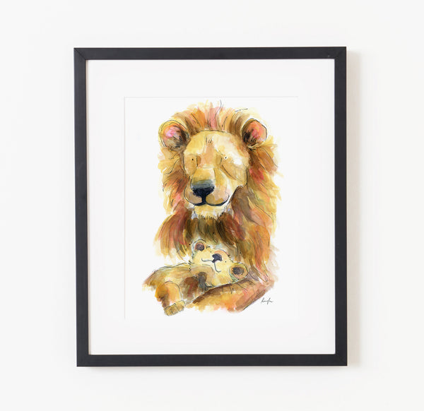 Murray and Sebastian the lions - Raewyn Pope Illustration