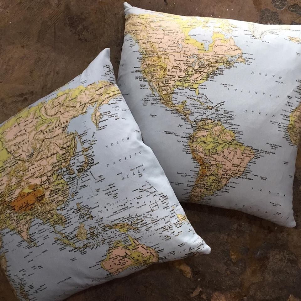 World Atlas Cushions