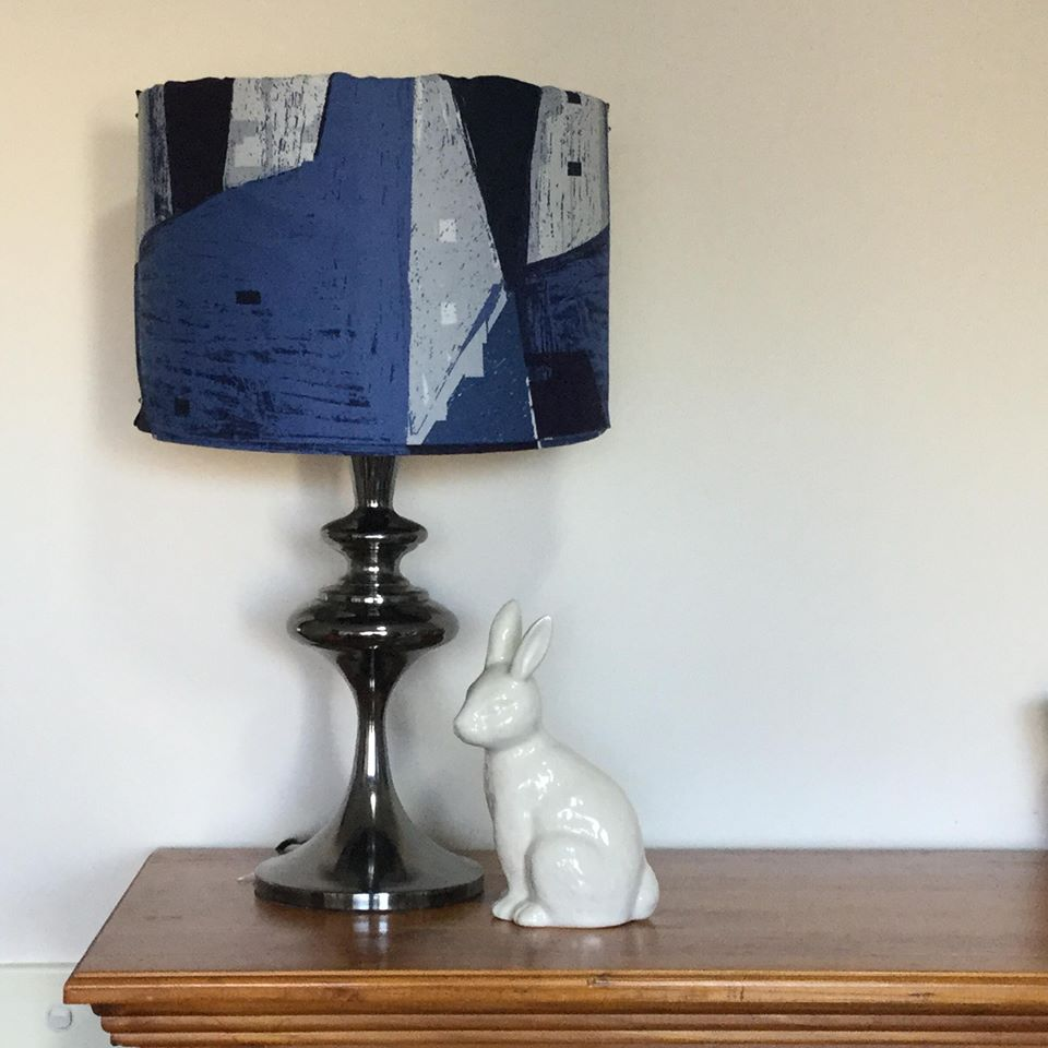 Custom Lamp Shade only - Houses in Blue