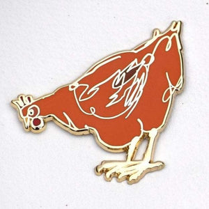 Enamel Label Pin -  Aretha  (orange Hen)