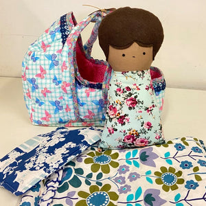 Baby Doll + Blanket Set + Cloth Carrier Basket Bundle Set