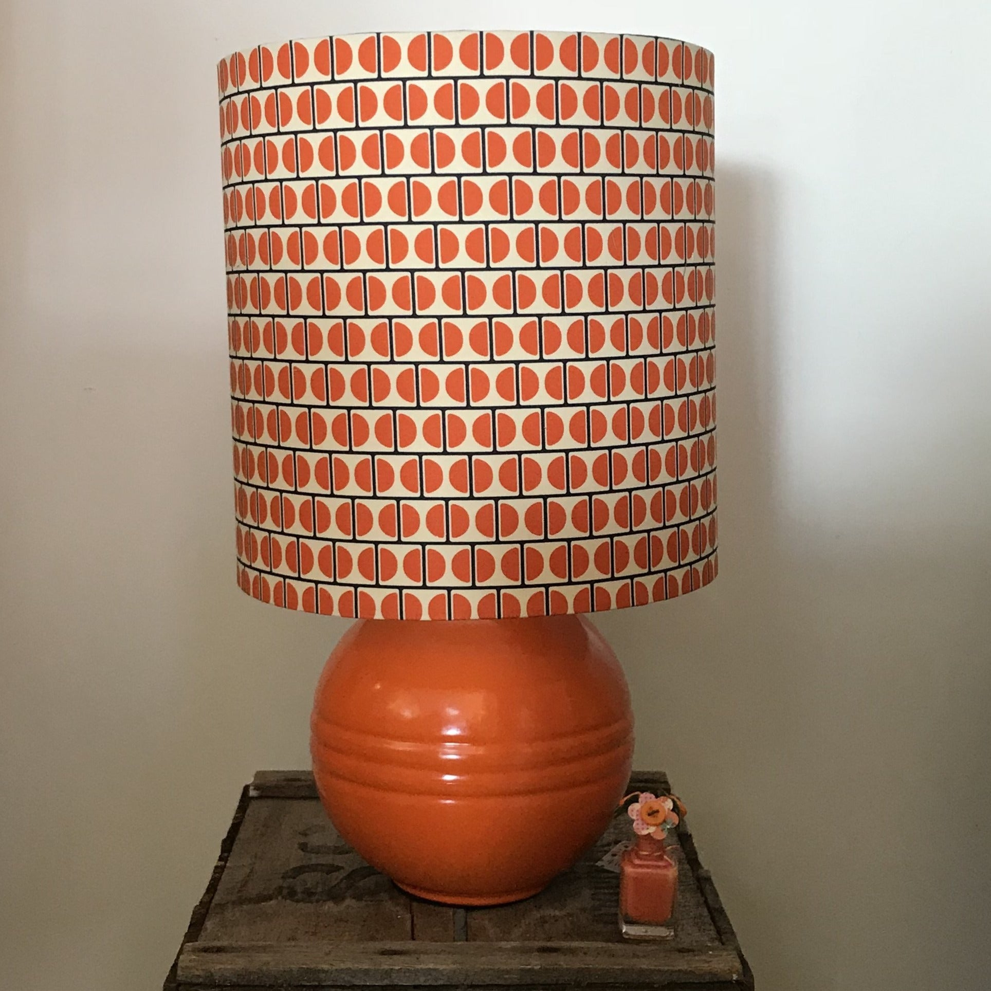 Custom Lamp Shade only - Orange Geo Split Sphere